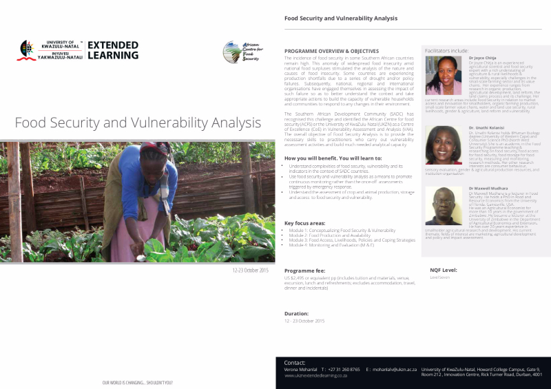 Food Security and Vulnerability Assessment Course