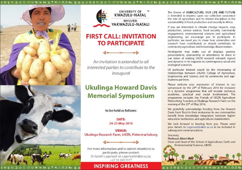 Ukulinga Howard Davis Farm Trust Memorial Symposium