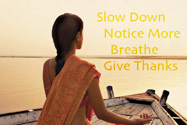 """Slow Down, Notice More, Breathe, Give Thanks"""