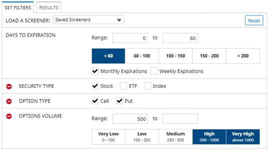 Options Screener Filters