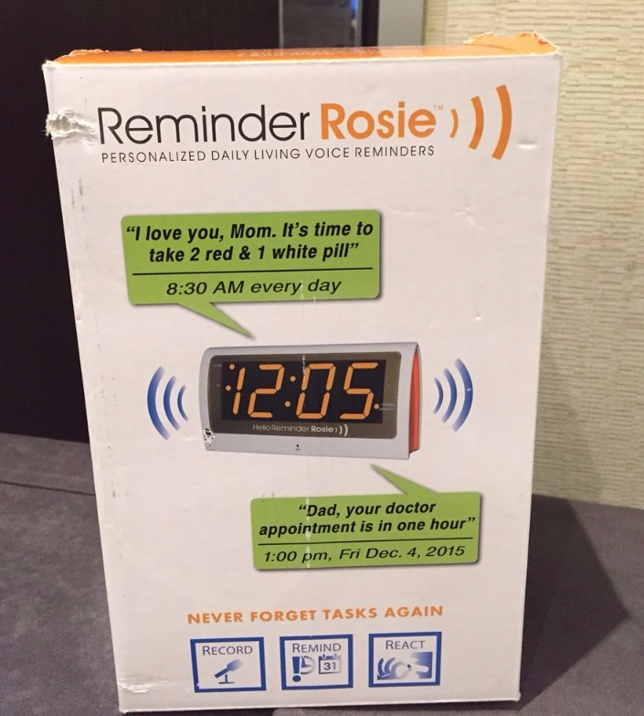 Reminder Rosie: Personalized daily living voice reminders. Shows clock with speech bubbles suggesting tasks linked to times.