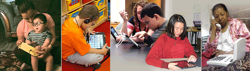People of all ages using assistive technology