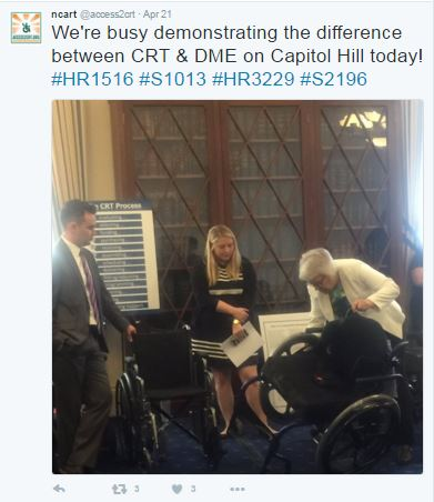 NCART tweet from April 21st: We're busy demonstrating the difference between CRT and DME on Capitol Hill Today! #HR1516 #S1013 #HR3229 #S2196