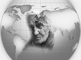Global map with elderly woman's face superimposed.