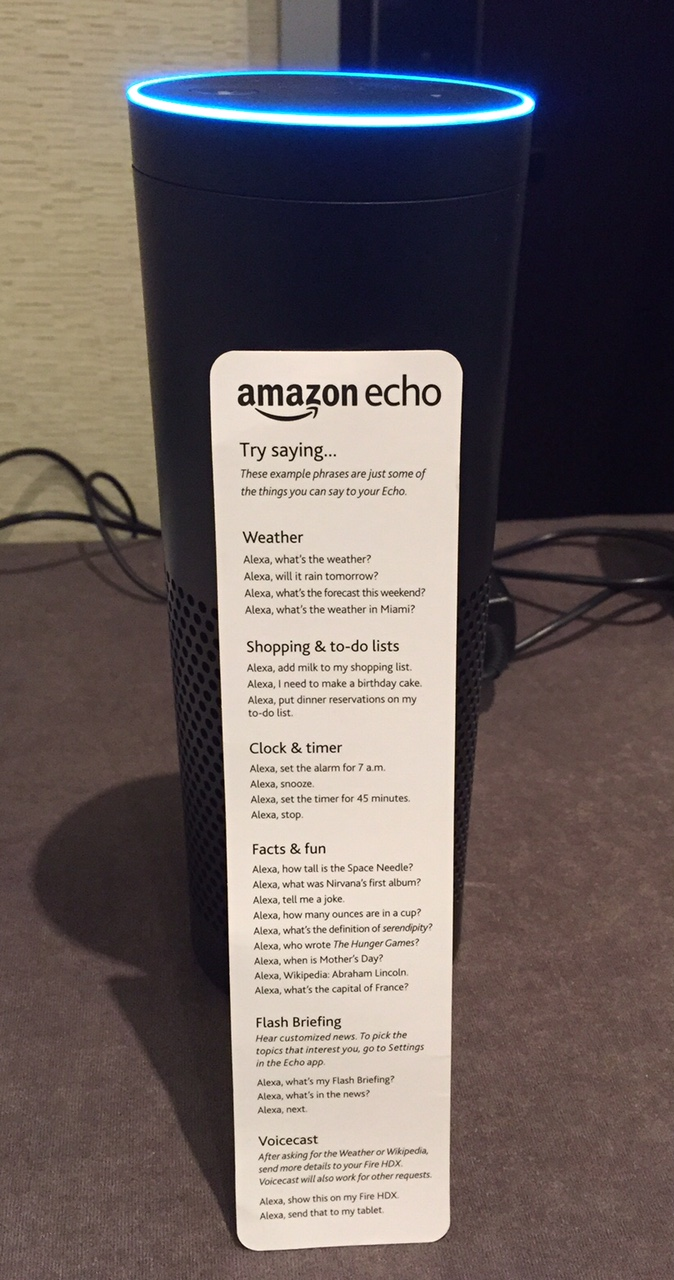 Amazon echo with device brochure.