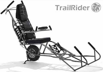 Photo of a TrailRider with logo in the corner. This looks like techy lawn chair with a single wheel and handles for pushing and pulling.