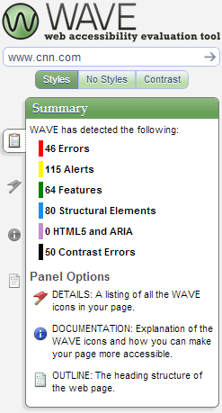 WAVE sidebar summary showing evaluation of cnn.com with 46 errors, 115 alerts, 64 features, 80 structural elements, and 50 contrast errors.