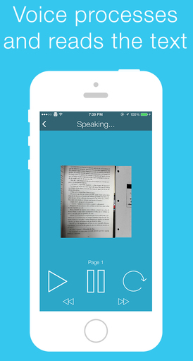 iPhone displaying Voice app screen shot with photo image of a book page. Underneath are Play , Pause and forward buttons. Above the iPhone it says, Voice processes and reads the text.