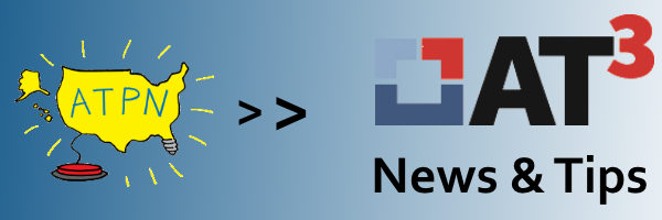 ATPN logo with arrow pointing to AT3 News and Tips logo