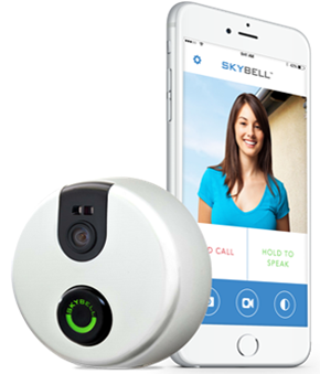 SkyBell device and smartphone with SkyBell display.