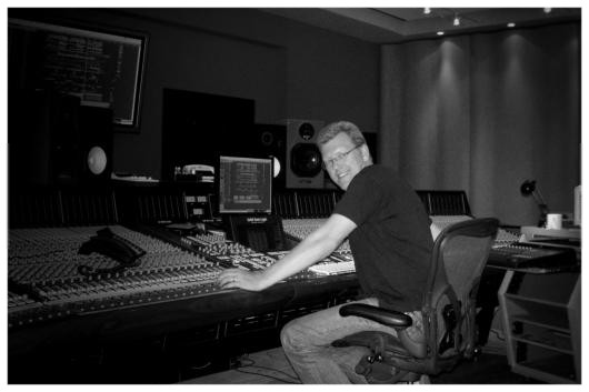 Producer, Alan Branch in his studio with the Harbeth DPM1pro Xpression speakers