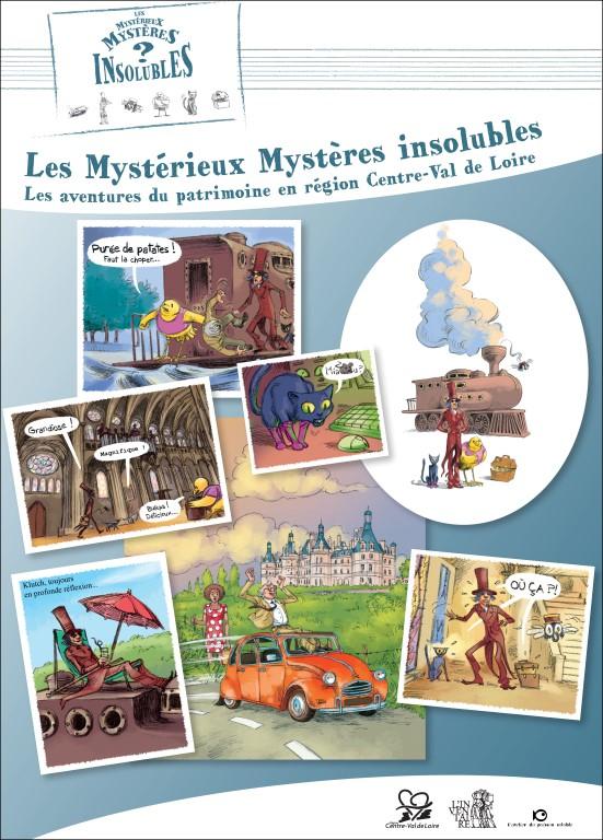 """Affiche de l'exposition """"Les Mystérieux Mystères insolubles. Les aventures du patrimoine en région Centre-Val de Loire"""""""
