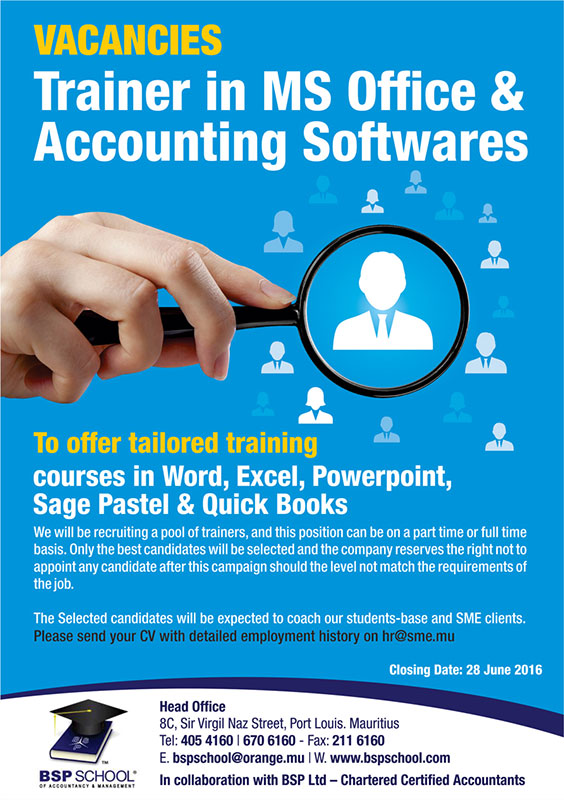 BSP School recruiting Trainers in MS Office and Accounting Packages