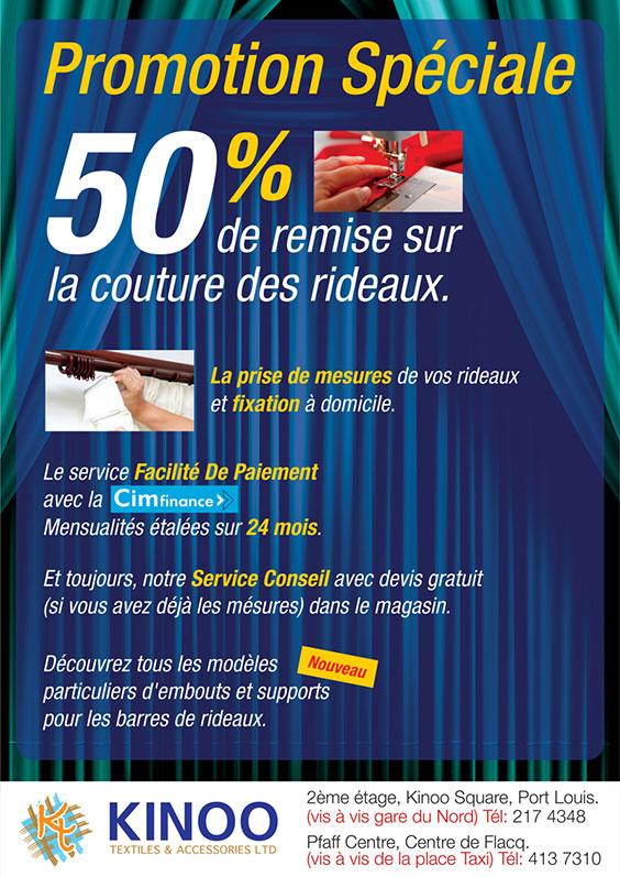 Kinoo Textiles & Accessories Ltd - Promotion Spéciale - 50% de remise sur la couture des rideaux