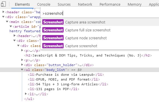 Screenshot Node in Chrome's DevTools