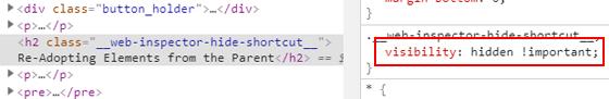 Hidden element in Chrome DevTools