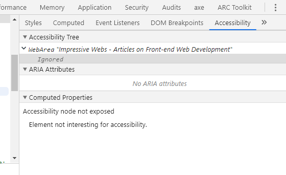 Accessibility Tab in Chrome DevTools