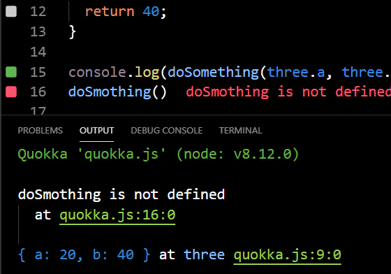 The Quokka Console lets you view the full output