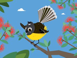 Illustration of bird in tree.