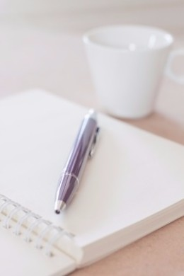 """""""Pen And Spiral Notebook With Coffee Cup"""" by punsayaporn"""