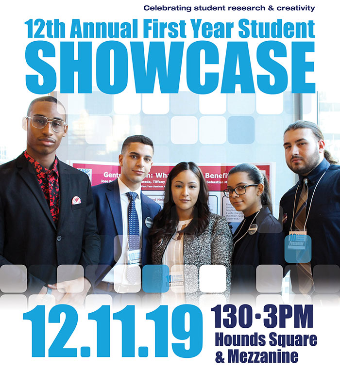 12th Annual First Year Student Showcase; five students posed in front of a presentation poster