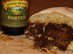 Porter Pulled Pork Sandwich & Sierra Nevada porter, sourced from their newsletter