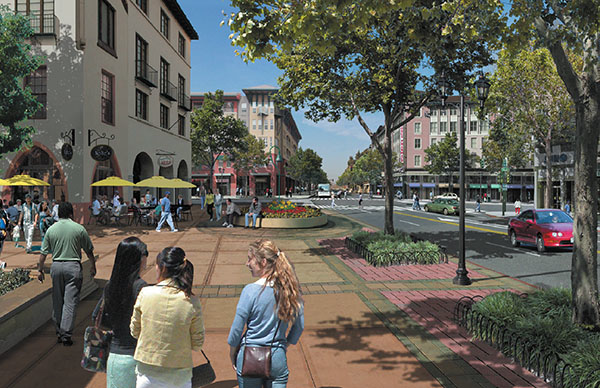 This image shows retail, restaurant and pedestrians outside of the San Leandro Transit Oriented Development