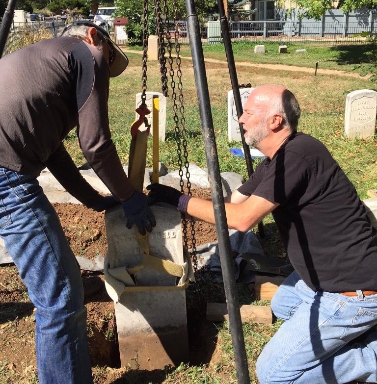 Re-setting Civil War veteran headstones with Jim Helgoth at Columbia Cemetery.