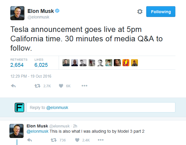 Elon Musk Tesla Model 3 event tweets