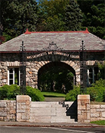 Archway marking entrance to MassBay Community College in Wellesley, MA