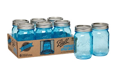 Vintage colored mason jars