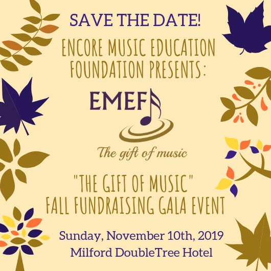 """The Gift of Music"" Fall Event: Save the Date - Nov 10, 2019"