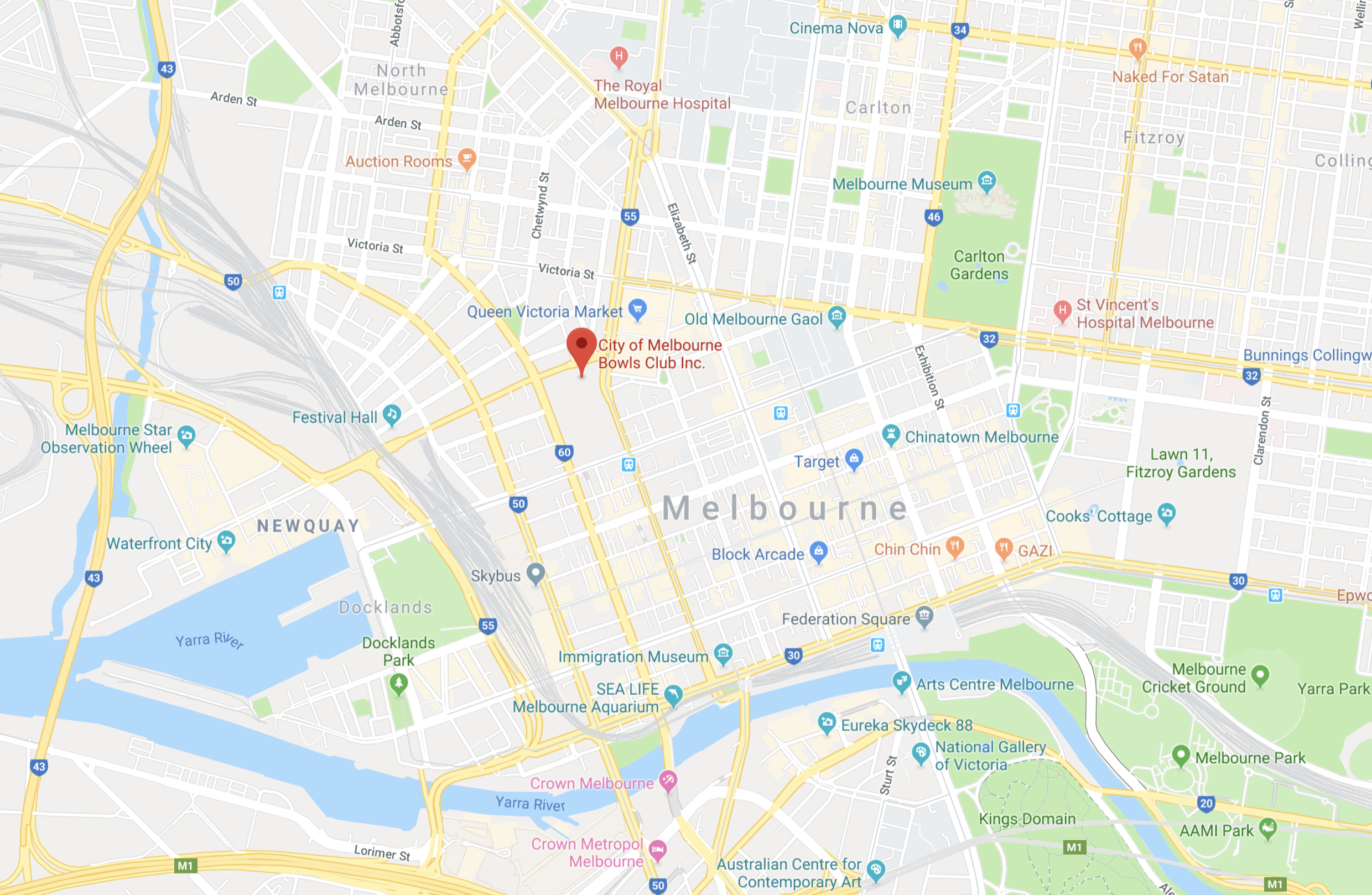 map of bowls club & melbourne