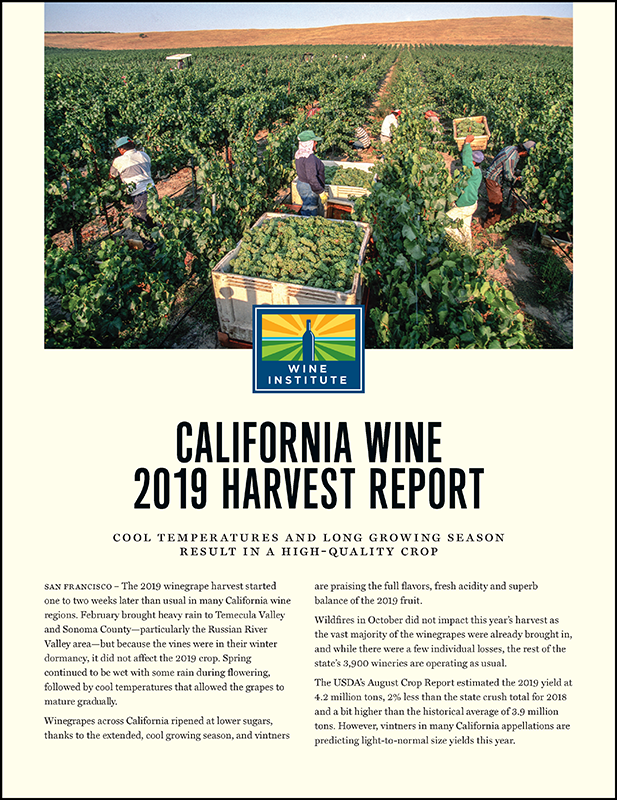 California Wine 2019 Harvest Report Cover