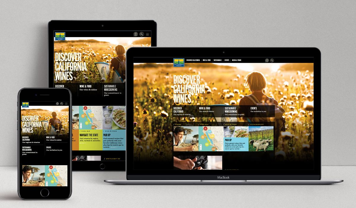 Discover California Wines website on mobile, tablet and desktop