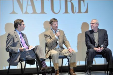Pictured: Stephen Segaller, WNET Vice President of Programming; Joe Hutto, Wildlife Artist and Naturalist; and Fred Kaufman, WNET Nature Executive Producer