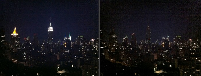 Manhattan Skyline Before and After Lights Out