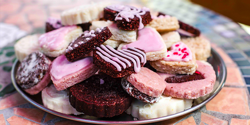 Beautifully decorated and yummy looking assortment of valentines cookies