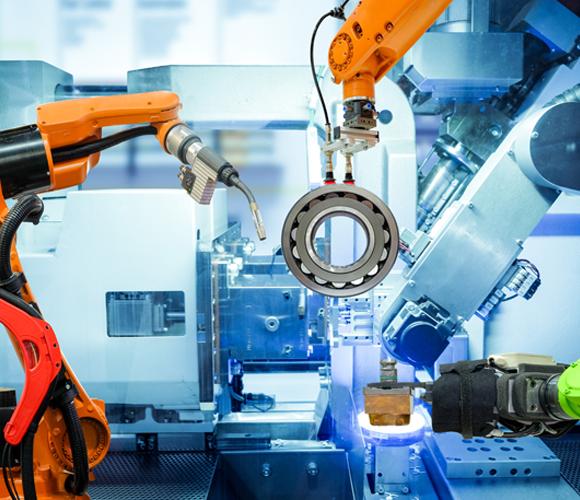 A cobot walks onto a production line