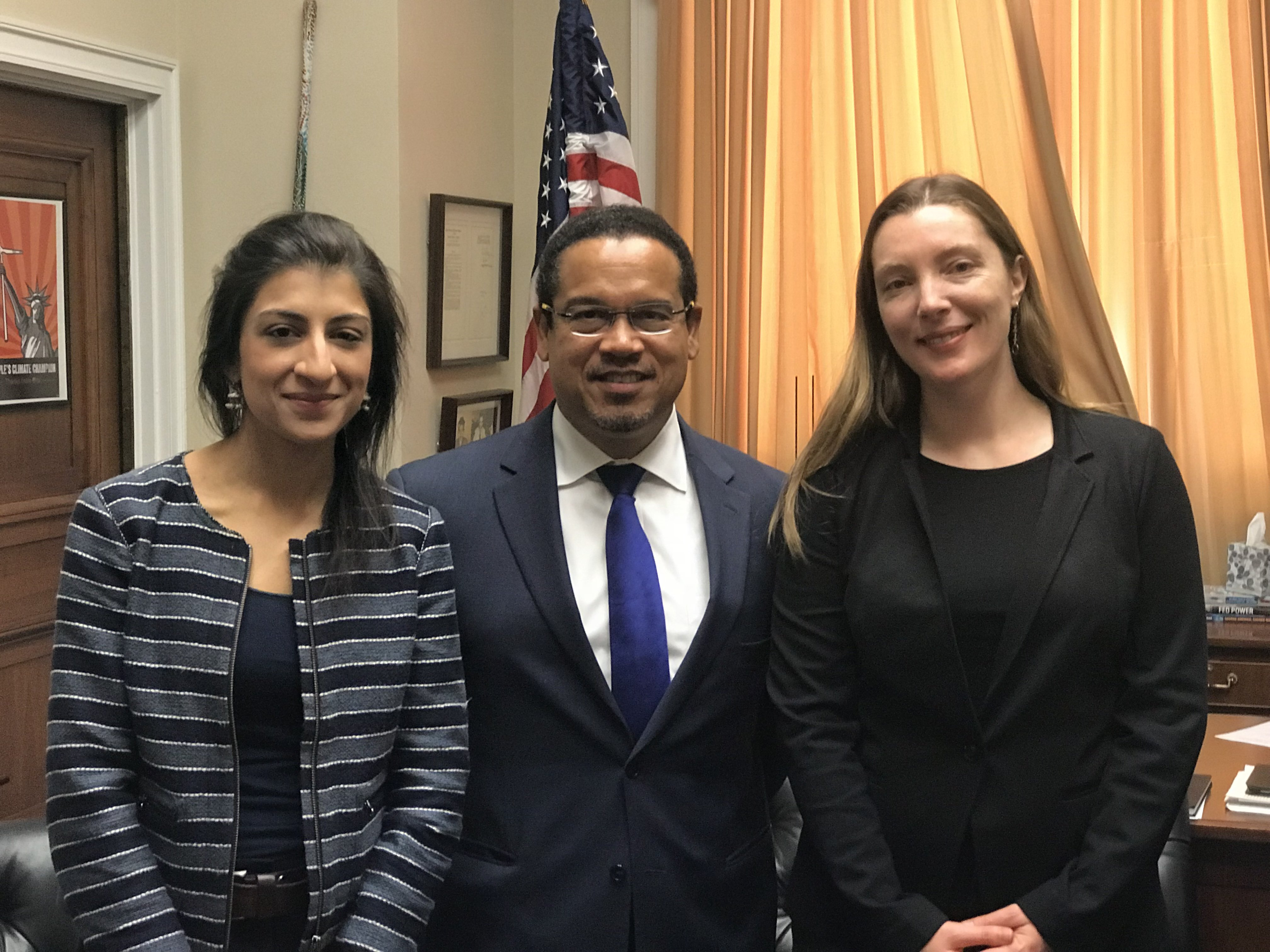 Photo: Stacy Mitchell with Rep. Keith Ellison and Lina Khan.