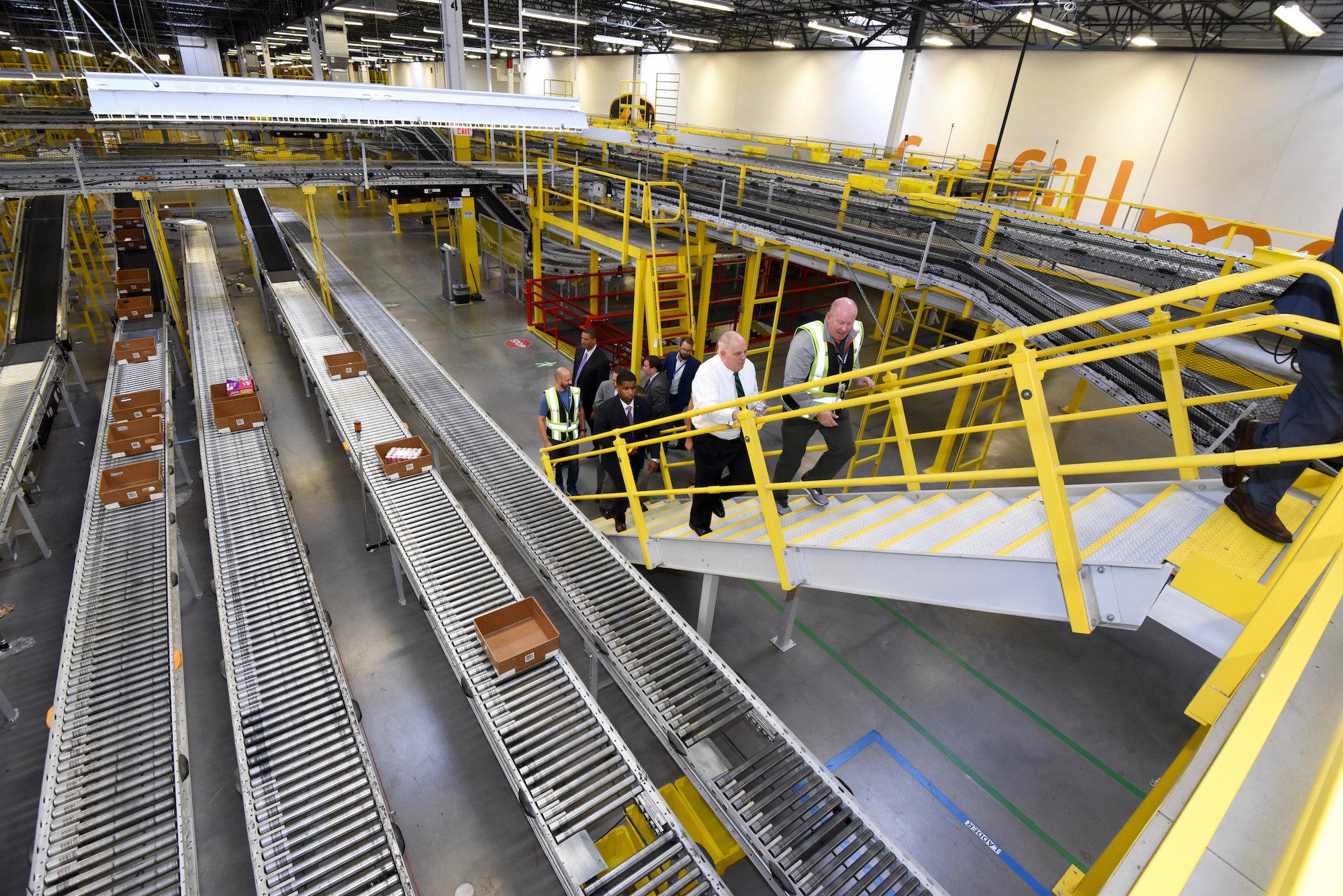 Photo: Maryland governor tours Amazon warehouse.