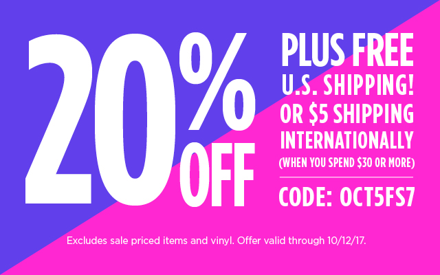 Spend $30, Get 20% off & Free US or $5 International Shipping Code OCT5FS7 Ends 10/12/17
