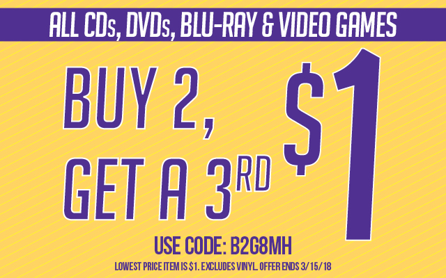 Buy 2, Get 3rd for $1 Code: B2G8MH Ends 3/15/18