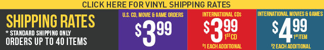 U.S. CD, VIDEO GAME orders ship for $3.99. Anywhere in the USA. International orders CD Orders $3.99 for the 1st item + 0.75 each additional, Videos Games Orders$4.99 for the 1st item + 1.75 each additional. Standard Shipping Only. Orders up to 40 items.