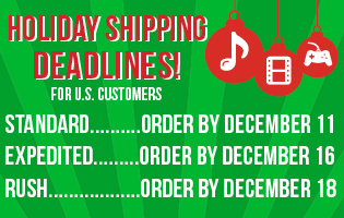 US Holiday Shipping Deadlines Orders by these dates for Christmas delivery Standard 12/11 Expedited 12/16 Rush 12/19
