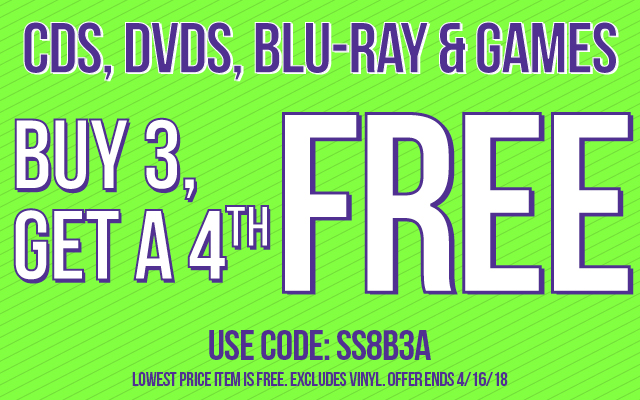 Buy 3, Get the 4th Free Code SS8B3A Ends 4/16/18