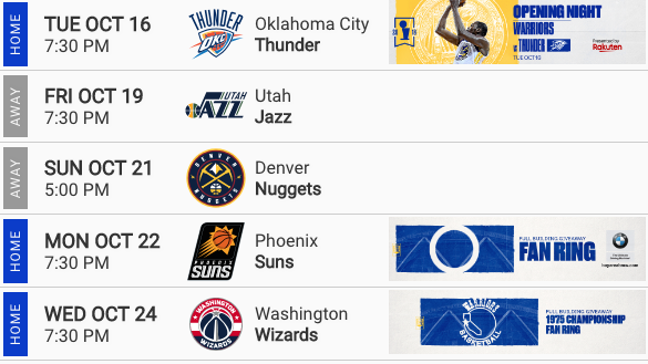 Warriors Upcoming Matchups