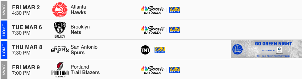 Warriors Schedule