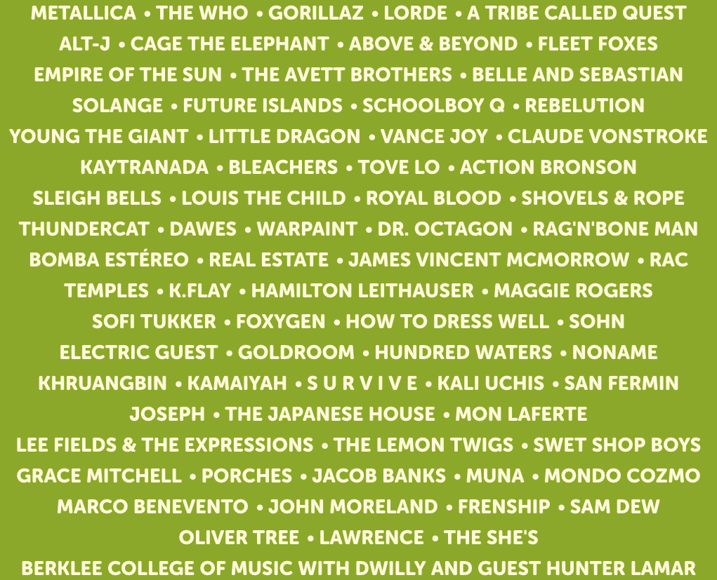 Outside Lands Music Lineup