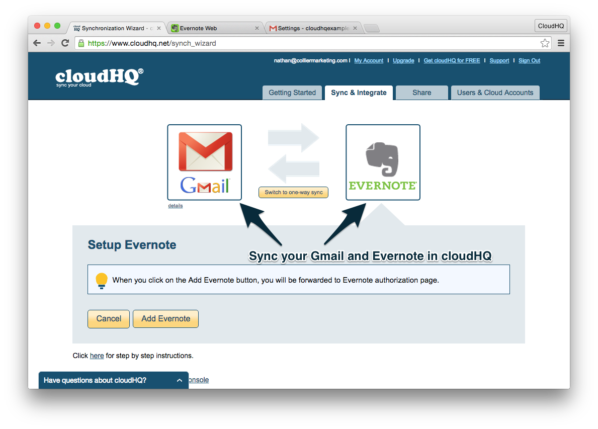 Step 7: Sync Gmail with Evernote in cloudHQ